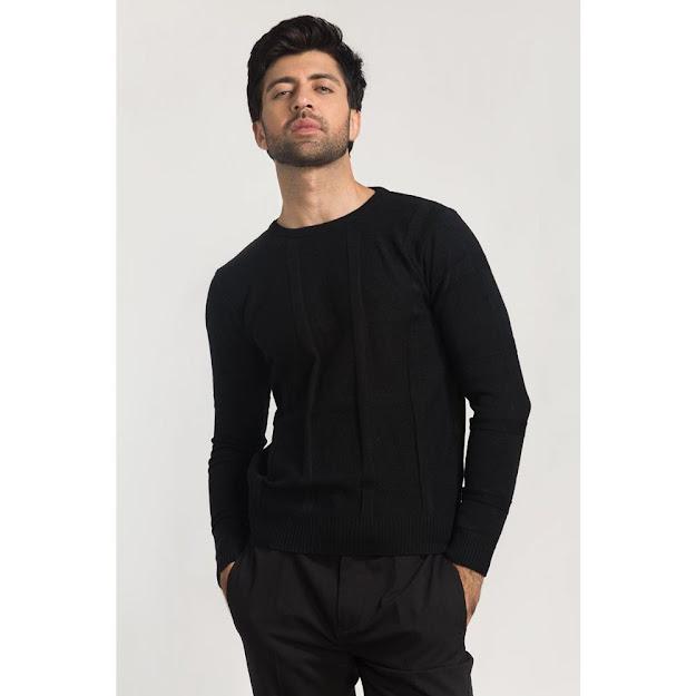 Men's winter wear black sweater