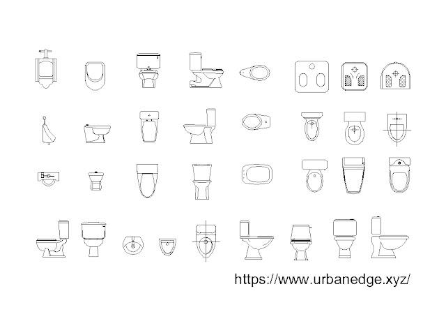 Toilet cad blocks, WC cad blocks, Urinal cad blocks