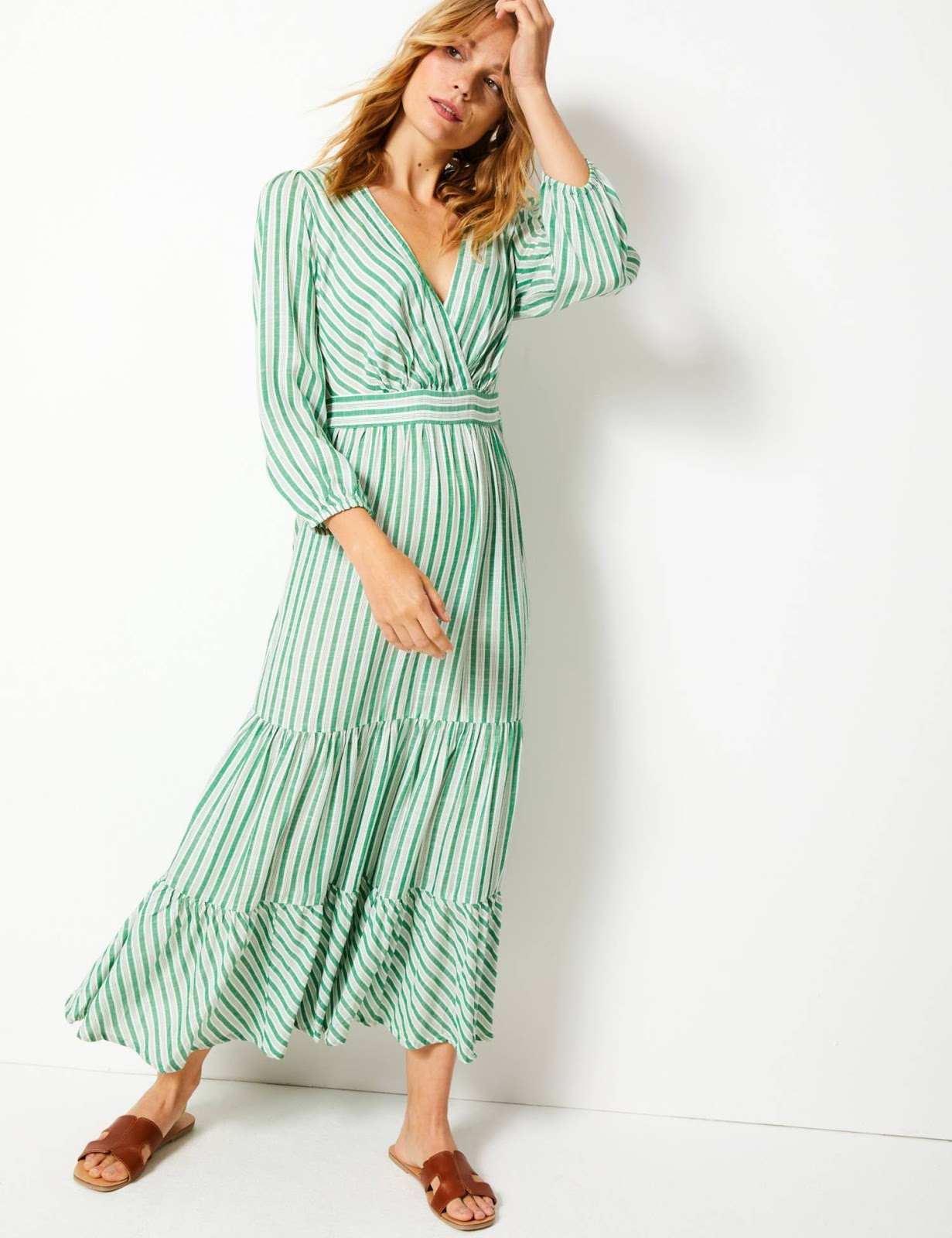 marks and Spencer striped waisted maxi dress
