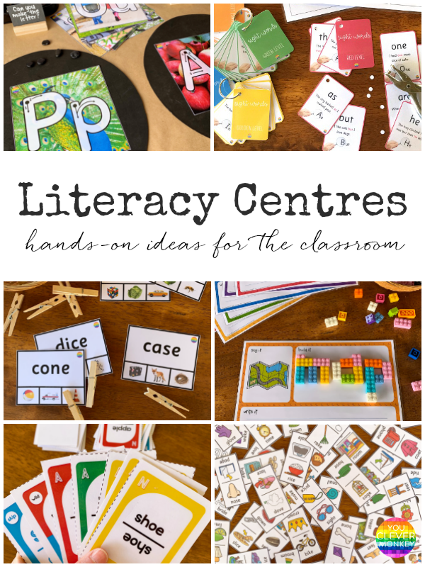 Literacy Center Ideas for Kindergarten and Preschool - Sharing more literacy center ideas to try in your classroom! Perfect for 4-8 year olds as they learn to read and write, recognise rhyme, syllables, beginning letter sounds | you clever monkey