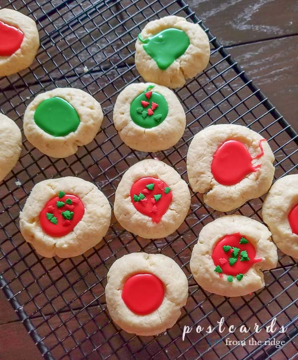 thumbprint cookies with red and green frosting
