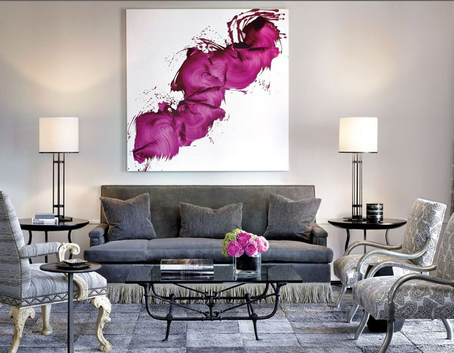 Jll design friday luxe for Purple and grey living room decorating ideas