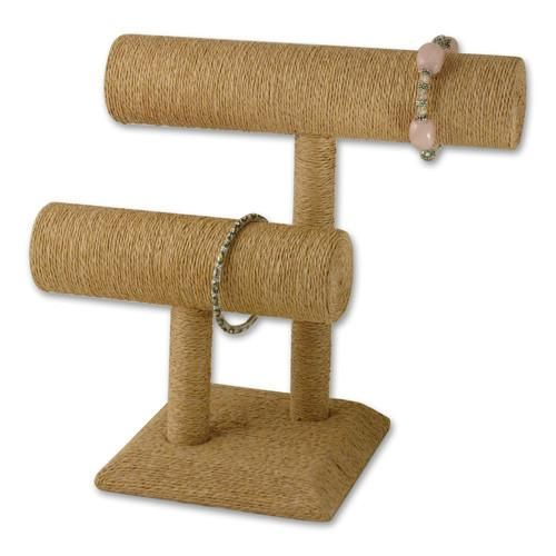 #NDF572 Paper Twine Wrapped Double T-Bar Bracelet Display