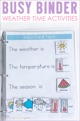 Weather, Temperature, Season Busy Binder Page
