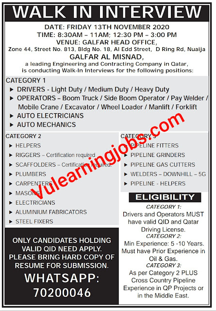 Walk In Interview Jobs 2020 In Qatar For Driver, Electricians, Helpers, Riggers, Mason, Fitters & Other Latest
