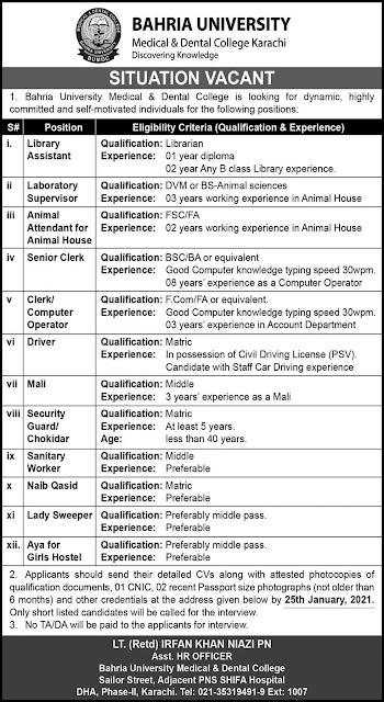 Bahria University Karachi Jobs 2021