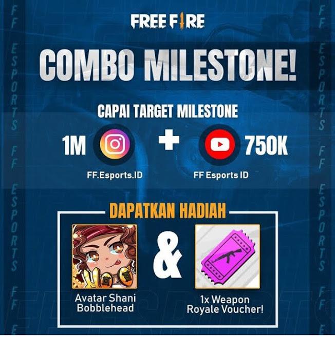 Capai Target Combo Milestone Free Fire di IG 1M dan Youtube 750K