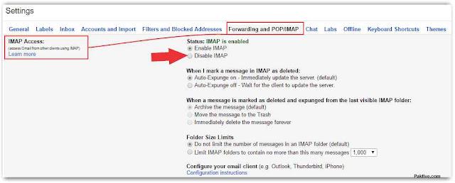 Gmail IMAP Access Disable IMAP