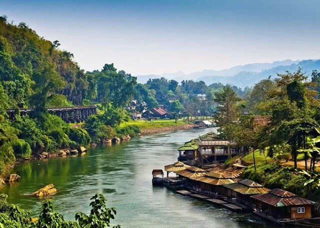 Dreaming village by the river near Bangkok, Thailand