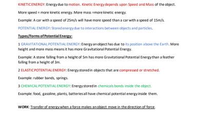 ملخص الوحدة الثالثة الطاقة وأشكالها علوم صف سادس فصل أول 2021