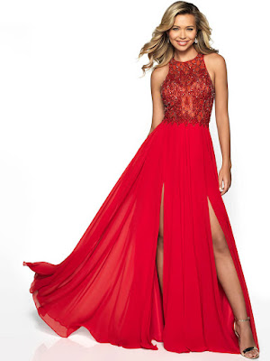 High Neck Chiffon Flair double silt Prom Red color dress