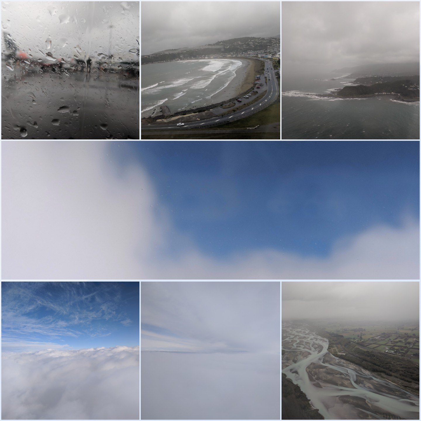 A collage of weather flying from Wellington to Christchurch