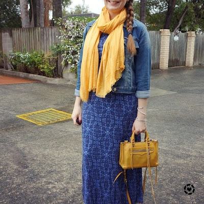 awayfromtheblue instagram | denim jacket blue printed maxi dress ankle boots mustard yellow scarf and micro regan bag for kid's birthday party