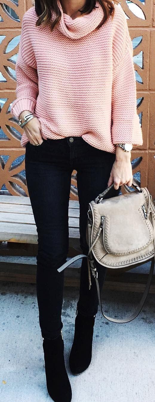 how to style a pink sweater : bag + black skinnies + boots