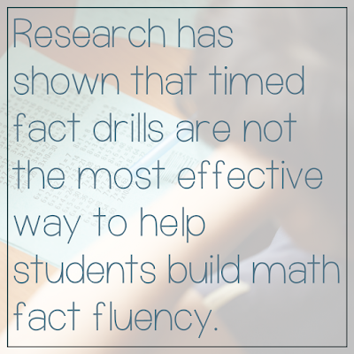 Quote: Research has shown that timed fact drills are not the most effective way to help students build math fact fluency.
