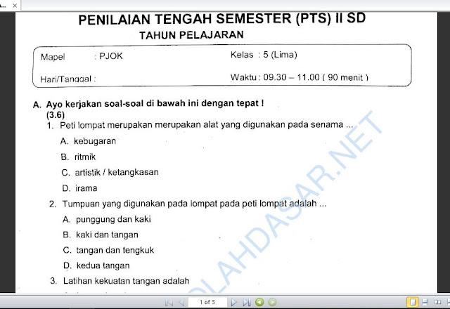 Soal UTS atau PTS Mapel PJOK Kelas 5 Semester 2