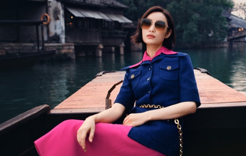 Ni Ni poses in Wuzhen, China for Gucci Eyewear spring-summer 2021 campaign.