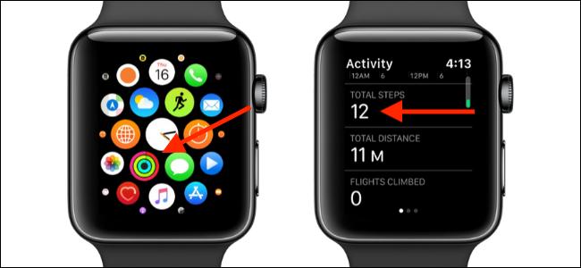 """حدد تطبيق """"النشاط"""" ، ثم قم بالتمرير لأسفل قسم """"إجمالي الخطوات""""."""