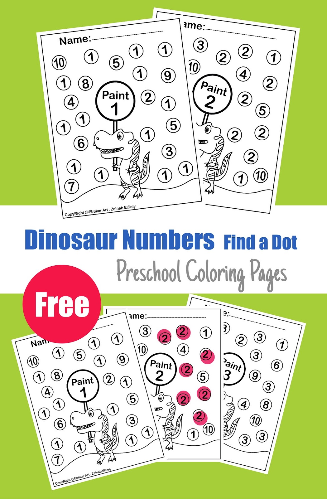123 Numbers Dinosaur Trex Activity Paint A Dot Preschool