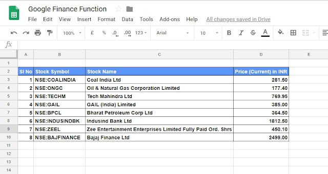 Basics of GoogleFinance Function in Google sheet