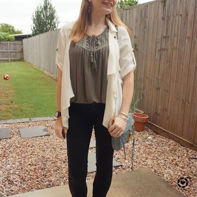awayfromblue Instagram | Nobody Denim siern skinny jeans white waterfall jacket olive tank