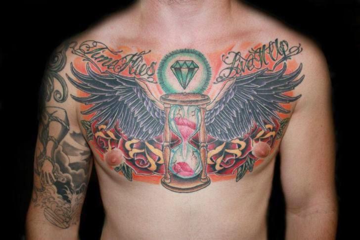 Diamond Chest Tattoo: Diamond Wings Tattoos On Chest For Men