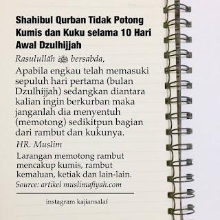 Larangan Memotong Kuku Dan Rambut Bagi Shahibul Qurban