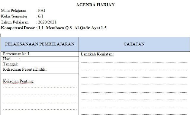 Agenda Harian Guru PAI Kelas 6 SD/MI Semester 1 Kurikulum 2013 Tahun 2020/2021 - Guru Krebet 3