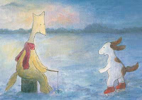Postcard illustration of Hulmu Hukka and Haukku Spaniel doing ice fishing and skating