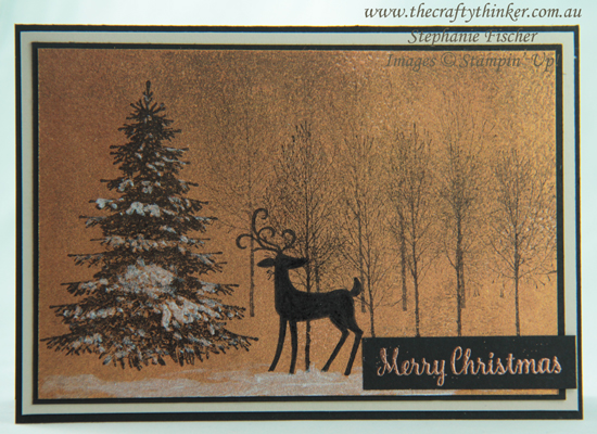 #thecraftythinker  #winterwoods  #christmascard  #xmascard  #cardmaking  #rubberstamping #stampinup , Winter Woods, Dashing Deer, Shimmer Paints, Christmas Card, Xmas Card, Stampin' Up Australia Demonstrator, Stephanie Fischer, Sydney NSW