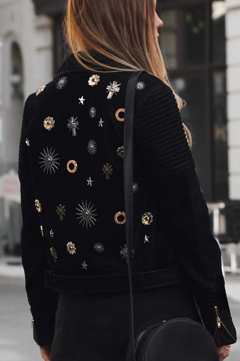 Black suede jacket, embellished jacket, round cross body bag, street style