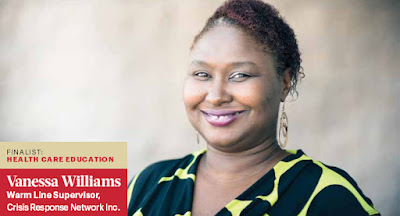 Photo of Williams as seen in Business Journal profile.  Text; Finalist: Health Care Educator.  Vanessa Williams Warm Line Supervisor, Crisis Response Network Inc.