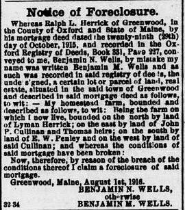 Newspaper Foreclosure Notice ralph herrick benny wells