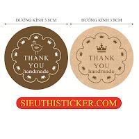 tem thank you vương miện và chim giấy kraft