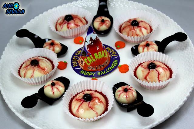 Ojos sangrientos de flan Ana Sevilla cocina tradicional Halloween