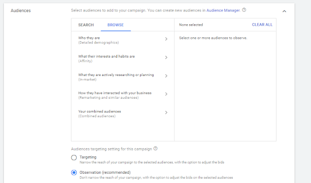 which audience are better click on the browse option in Google Ad