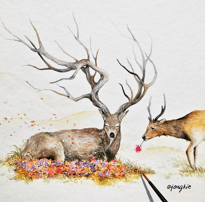 12-Funeral-Luqman Reza jongkie-Painting-Fantasy-worlds-with-Flowing-Watercolor-Animals-www-designstack-co