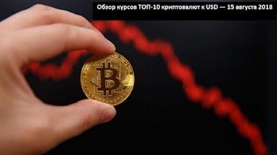 Обзор курсов ТОП-10 криптовалют к USD — 15 августа 2018
