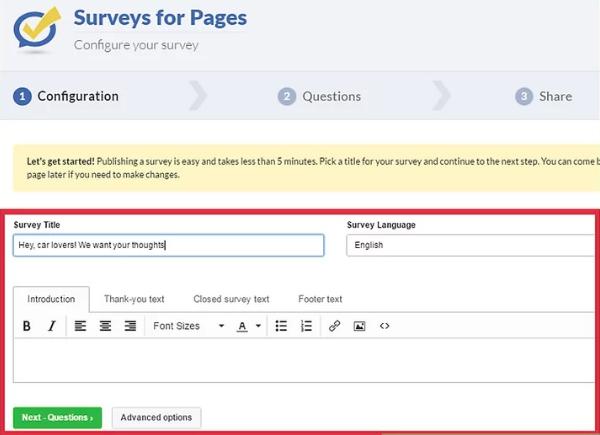 Configure your survey