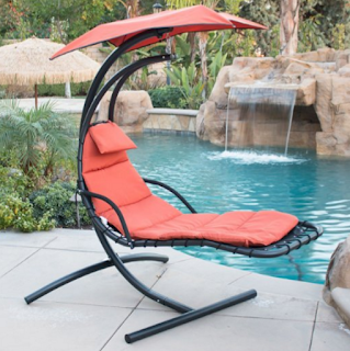 BELLEZZA Arc Stand Style Hanging Chaise Lounger Chair- Red