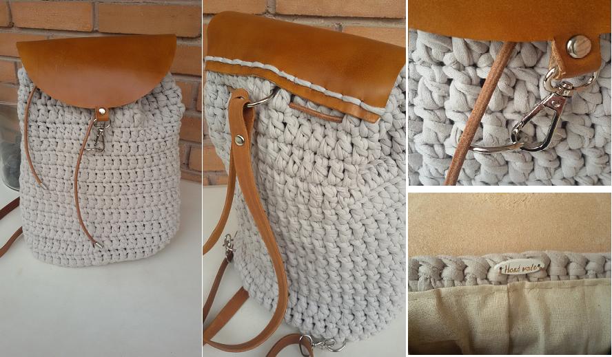 e28956b897 TS37-160Ε Χειροποίητη XL πλεκτή τσάντα πλάτης πλεγμένη με ειδικό βαμβακερό  νήμα για τσάντες