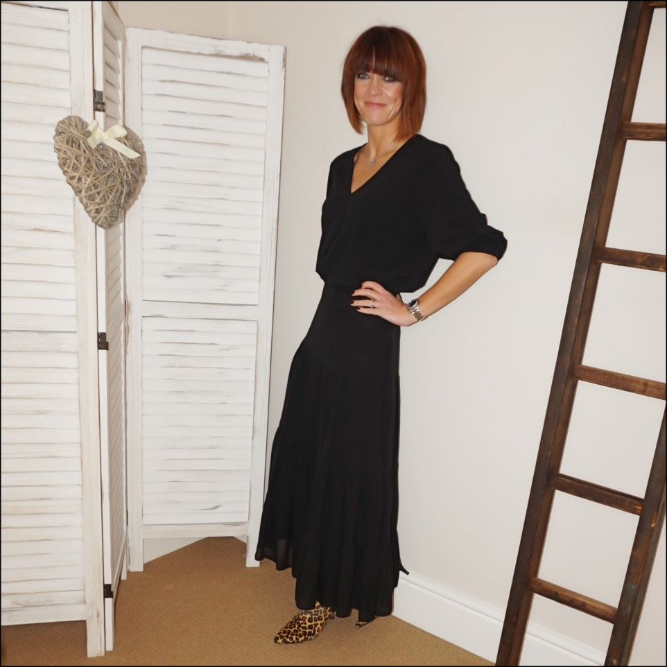 my midlife fashion, tibi loose fit v neck top, marks and spencer tiered layered maxi skirt, hush rye boots