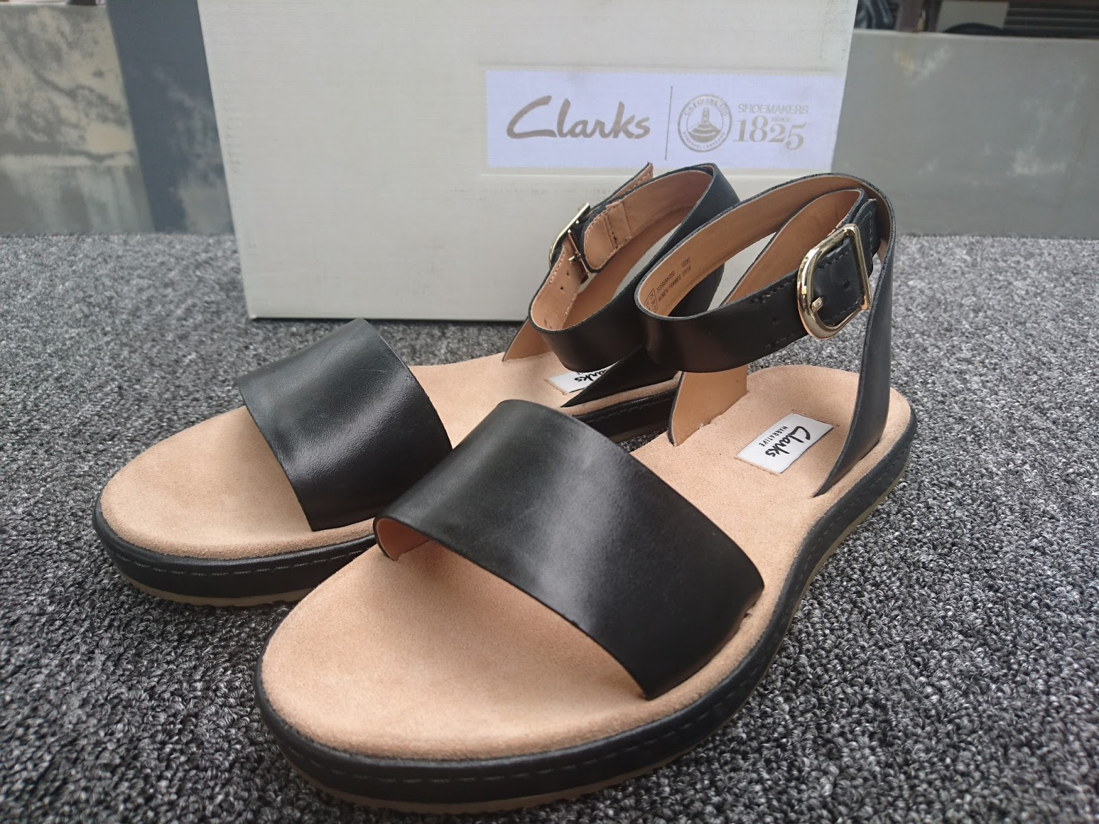 e1d5acef882 Clarks Style  Romantic Moon Collection  Narritive 100% Authentic Brand new  in box Full leather Black colour Ankle strap flat sandals Elasticated  buckle ...