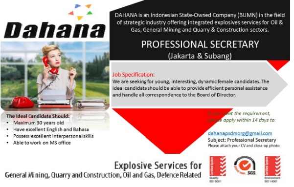 Lowongan Pekerjaan BUMN PT Dahana, lowongan desember 2016
