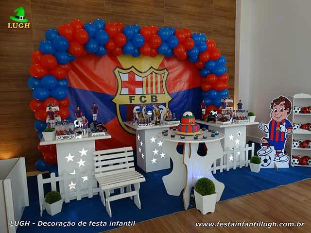 Decoração com o time de futebol Barcelona para festa de aniversário infantil de meninos - Barra da Tijuca - RJ