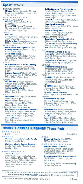 Epcot and Animal Kingdom Times Guide November 28 December 4 2004