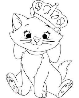 desenho da gata Marie com coroa para pintar