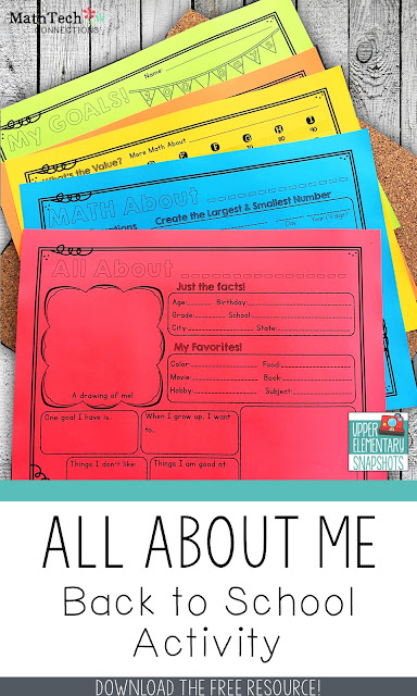 Back to School All About Me Free Activity