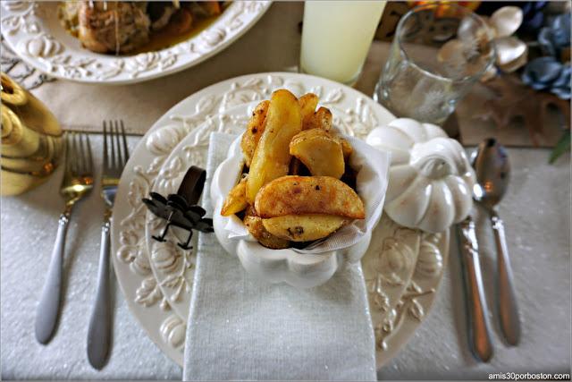Patatas Fritas de Guarnición de la Cena de Acción de Gracias en Boston