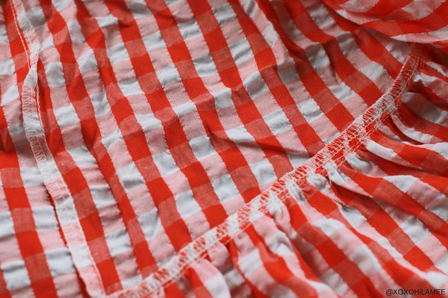 日本人ファッションブロガー,Mizuho K,NEWIN-ギンガムチェック アシンメトリー フリル スカート  from SheIn